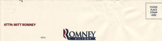 Romney Victory campaign donation return envelope