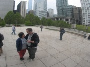 "April 13th: My wife and I visit Chicago's reflective ""Millennium Gate"" sculpture, a.k.a. ""The Bean""."