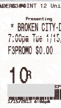 Broken City ticket stub