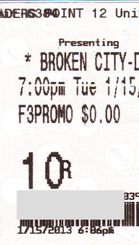 Broken City ticket stub