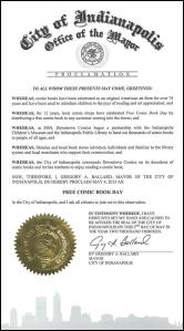 Indianapolis Free Comic Book Day proclamation, May 4, 2013