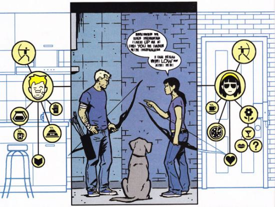 Hawkeye #11, Hawkguy, Lucky, PIzza Dog