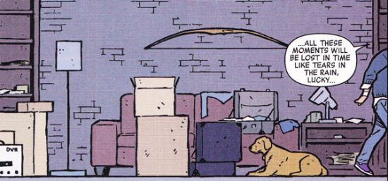 Hawkeye, Hawkguy, Lucky, Pizza Dog