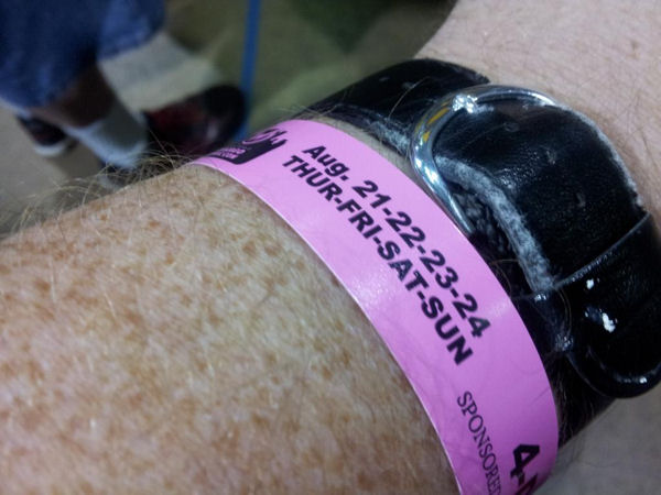 Admission wristband. Whee.