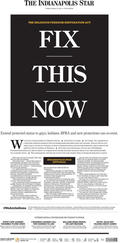 IndyStar front page, 3/31/2015.