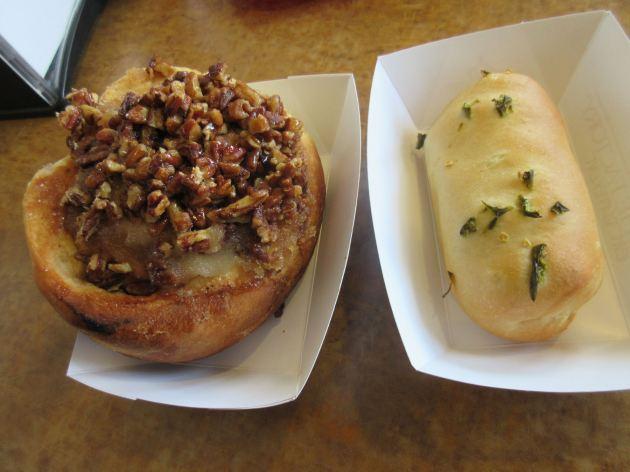 Sticky bun and Smoked Sausage Jalapeno!