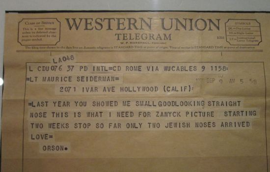 Orson Welles telegram!