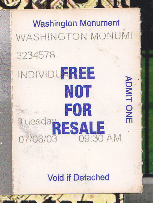 Washington Monument ticket!