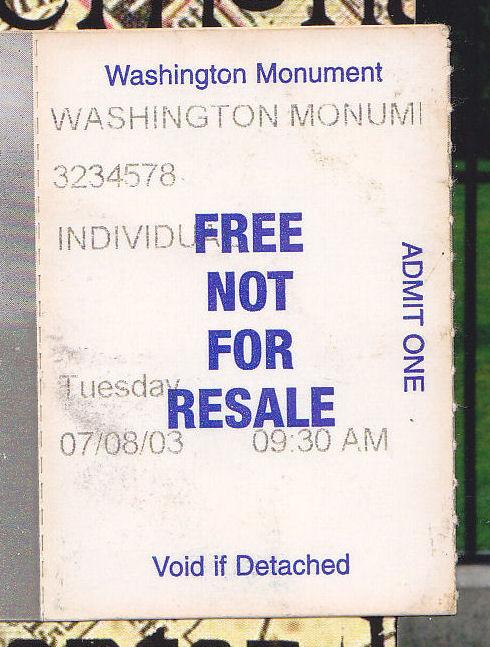 Washington Monument ticket!