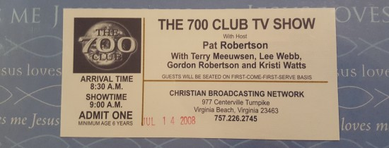 700 Club Ticket Stub!