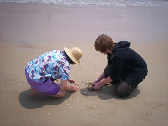 sand digging!