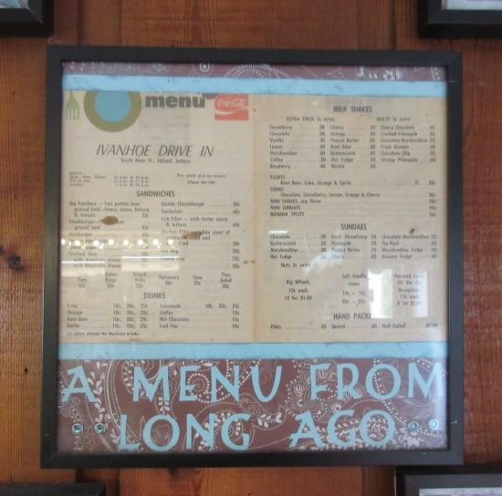 menu from long ago!