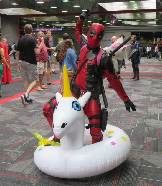 Deadpool and unicorn innertube!