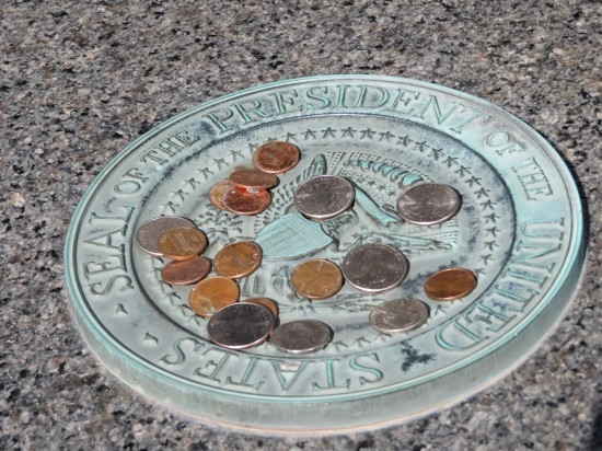 pennies on seal!