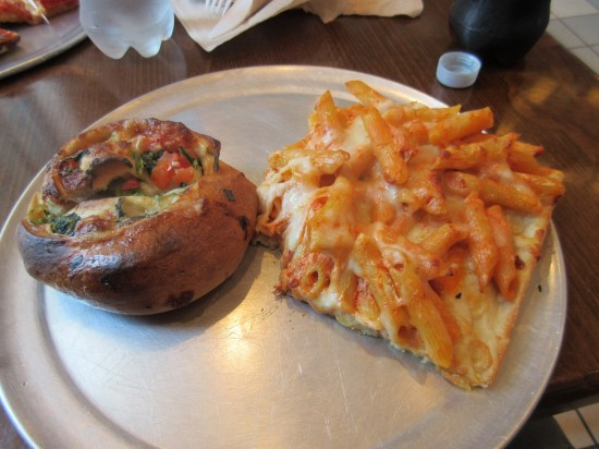 spinach calzone and baked ziti pizza!