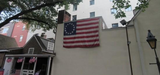 Betsy Ross flag outside!