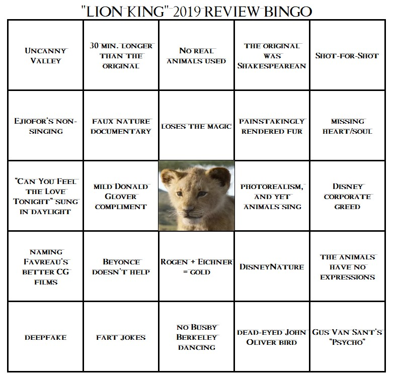 Your Handy Lion King 2019 Review Bingo Card Midlife