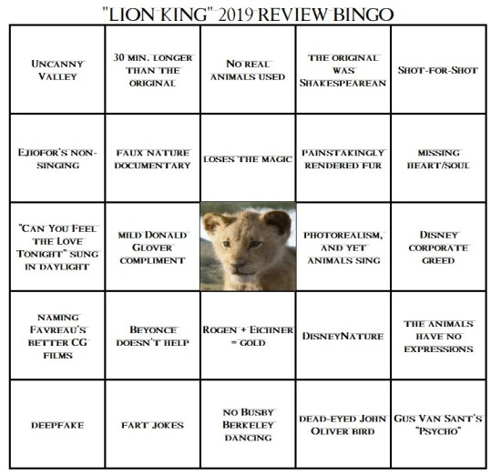 Lion King Review Bingo!