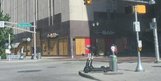 T-Mobile boarded windows!