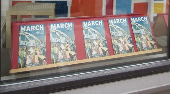 "Window display of John Lewis' ""March"""
