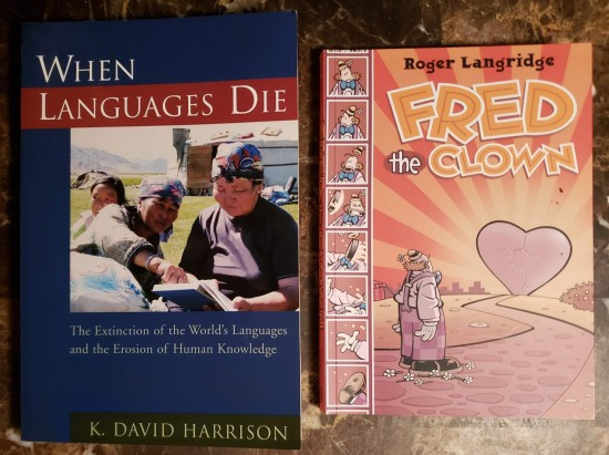 Books about dead languages and clowns.