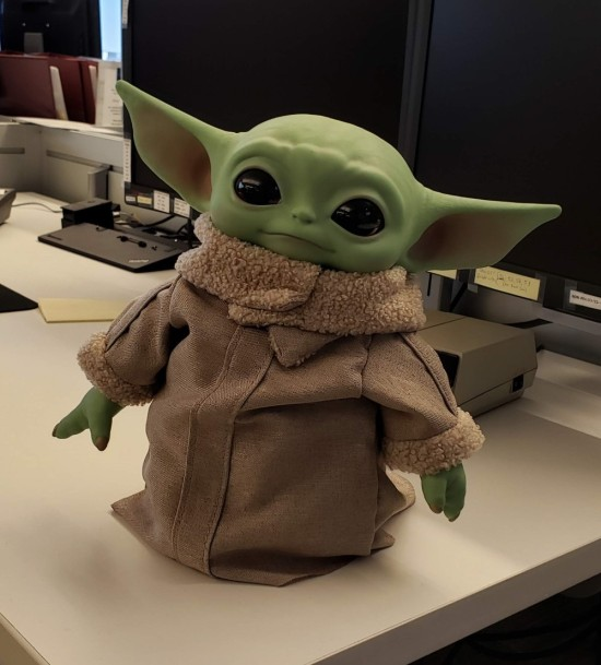 life-size Baby Yoda statue.