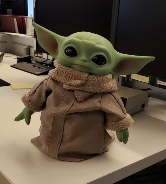 life-size Baby Yoda statue.