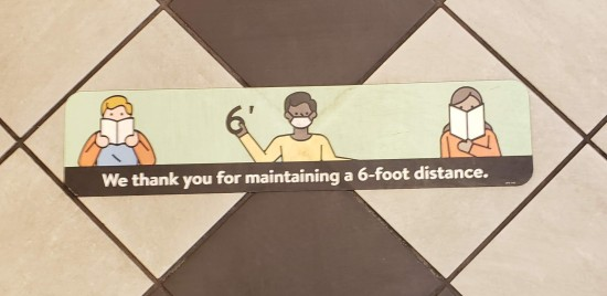 Barnes & Noble social distancing floor decal.
