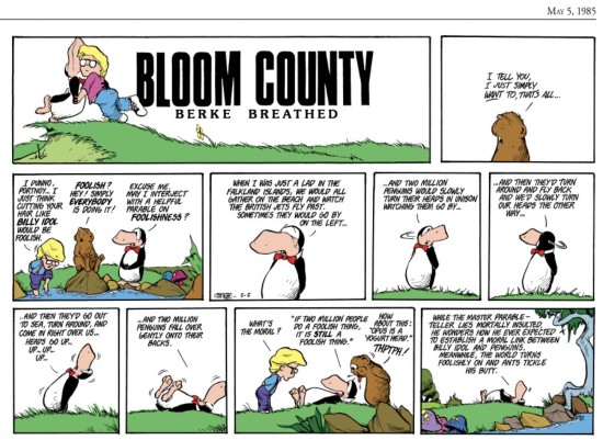 """Bloom County"" Sunday strip, 5/5/1985."
