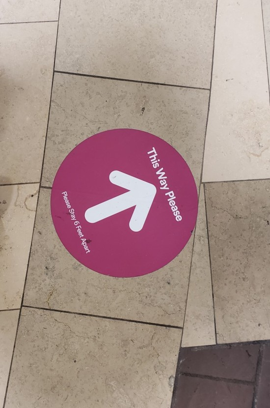 Mall social distancing floor decal.