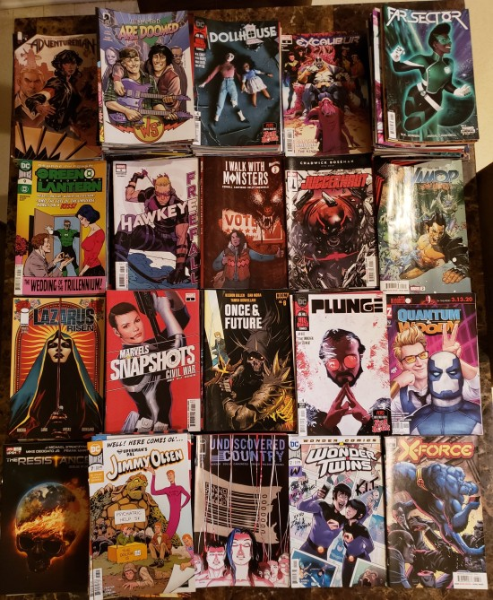 Alphabetized piles of comic books published in 2020.