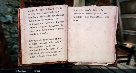 Skyrim Gross Origin of Music Book.