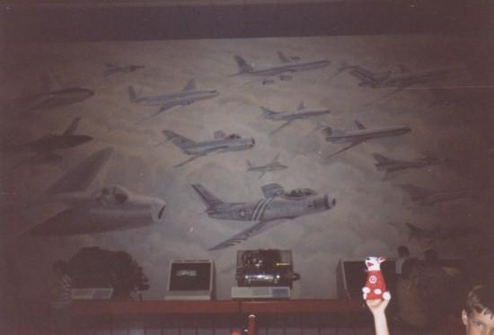 Old aircraft mural.