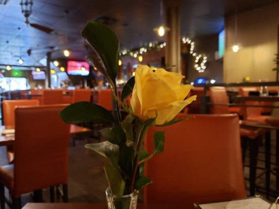 Yellow rose in a restaurant vase.