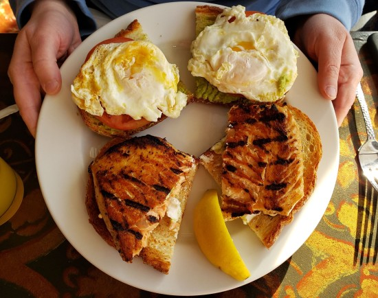 Grilled Salmon and Egg sandwich.