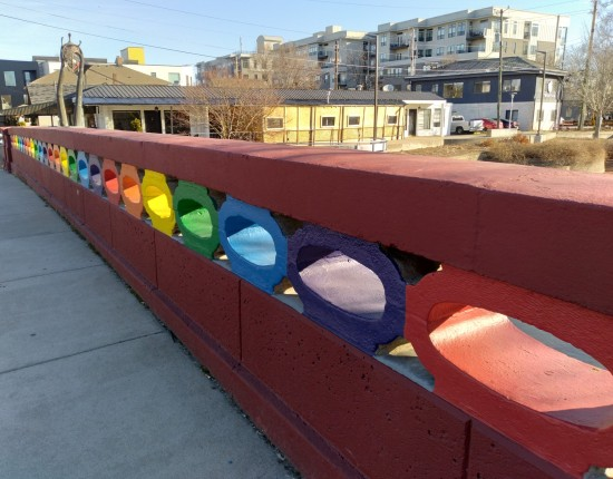 Colorful bridge in Broad Ripple.