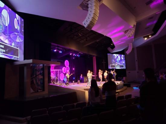 Purple lights at worship service.