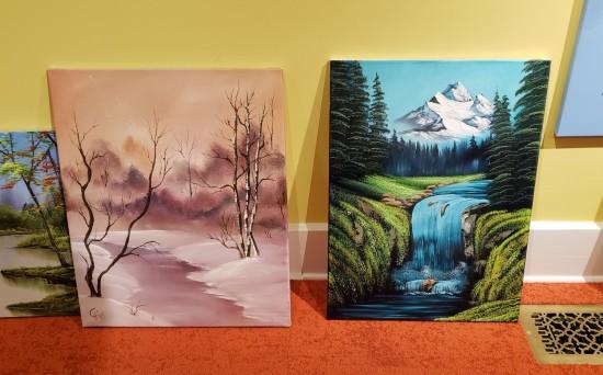 Bob Ross-esque Ross paintings.