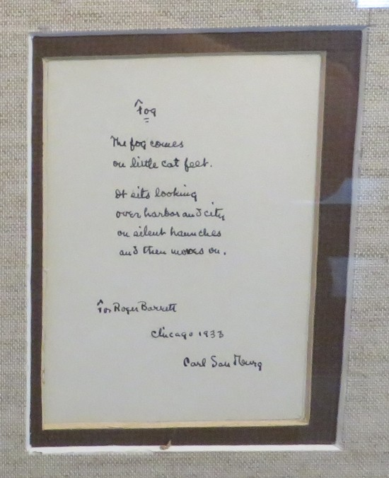 """Carl Sandburg poem """"Fog""""."""