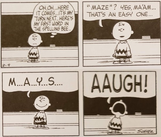 Charlie Brown fails at spelling.