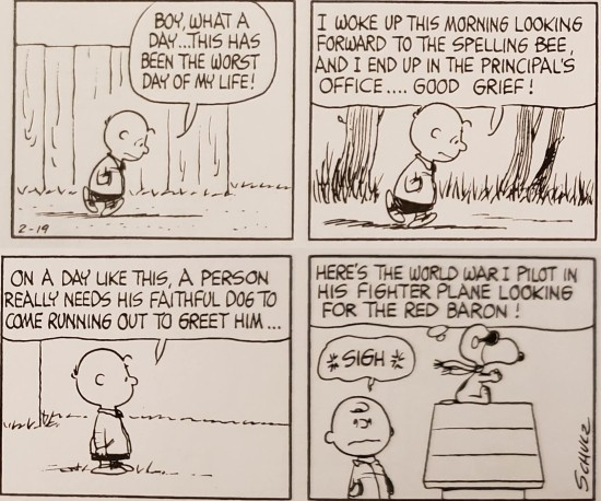 Charlie Brown comes home after spelling bee fail.