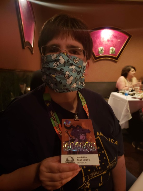 Anne and her Dragon Con badge!