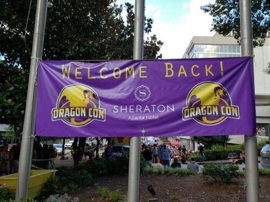 Dragon Con purple Welcome Back sign!