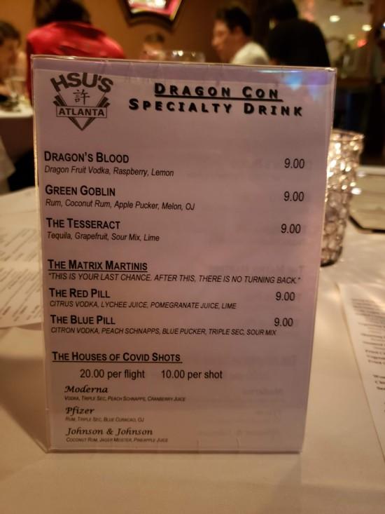 Hsu's Dragon Con 2021 drink menu.