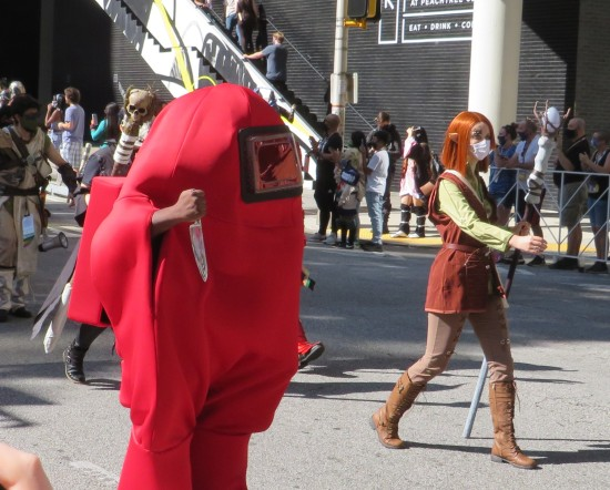 stabby red blob and elf cosplay?